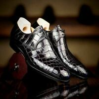 Men,s Handmade Leather Shoes, Formal Crocodile Texture Leather Men Black Shoes