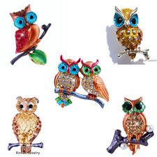 Fashion 5Styles Owl on Branch Brooch Pin Rhinestone Crystal Womens Party Gift #1
