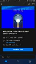 Kanye West: Jesus Is King Sunday Service 4 TICKETS Oct 27 The Forum in LA