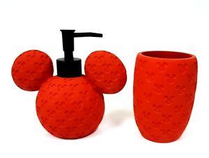 2 PC RESIN RED LOGO 3D MICKY,MINNIE MOUSE DISNEY SPHERE SOAP DISPENSER & TUMBLER