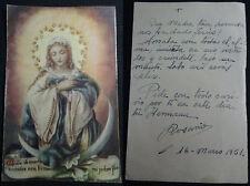 ESTAMPA VIRGEN MARIA HOLY CARD 1951 ANDACHTSBILD SANTINI                  CC1315