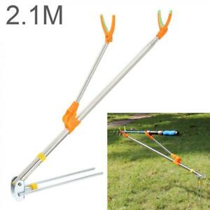 2.1m Fishing Rod Ground Inserted Stand Bracket Metal Stretch Pole Chair Holder