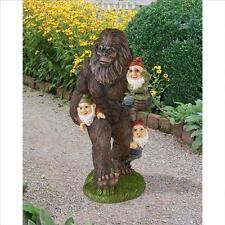 """Mythical Bigfoot Yeti and Garden Gnomes Hand Painted 16"""" Garden Statue"""