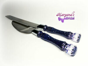 Galaxy Blue Black Purple Wedding Cake Server and Knife Inspired Disney Wedding