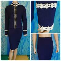 St. John Knits Collection Blue Jacket Skirt L 12 10 2pc Suit Cream Embroidery