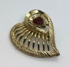 Vintage Brooch Pin Gold Tone Red Rhinestone Heart