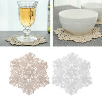 Cotton Mat Hand Crocheted Lace Flower Doilies Shape Coasters Cup Mug Pad