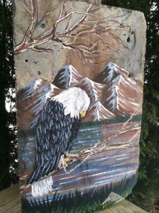Sad American Eagle Hand Painted on Slate 2021