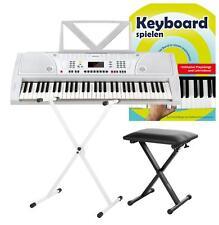 Edles weißes Digital Keyboard 61 Tasten im Set Keyboardständer + Hocker + Schule