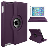 New 360 Rotating Leather Stand Case Cover For iPad 2 3 4 Mini 1 2 3 4, Air & Pro