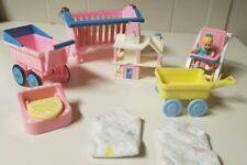 Playskool FisherPrice LovingFamily Nursery Bed Dollhouse Baby Crib Strollers VTG