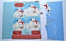 Kanban Christmas Polar Bear Die Cut Foiled Toppers,Card, Insert Kit 54420