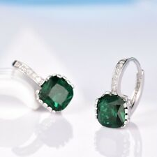 New Retro Style Stunning Charms Green Emerald Crystal Women Silver Hoop Earrings