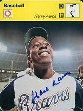 Hank Aaron Atlanta Braves Signed 1977-1979 Sportscasters Card JSA Authenticated