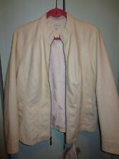 Susan Graver Faux Leather Jacket with Quilting Detail Large L White