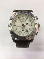 Nautica Men's White Dial Brown Leather Strap Chronograph Quartz Watch A14591G
