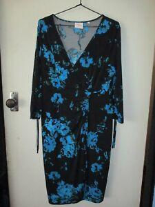 LOVELY LEONA EDMISTON SZ 14 BLACK DRESS BLUE FLORAL PRINT