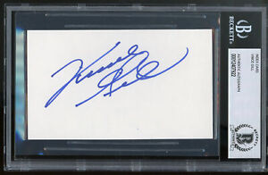 Vince Gill Country Musician Authentic Signed 3x5 Index Card Autographed BAS Slab