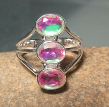 Sterling silver triple rainbow mystic topaz ring UK O¾-P/US 7.75. Gift Bag.
