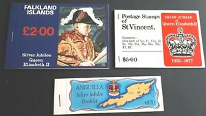 3 x Commonwealth Stamp Booklets Silver Jubilee - Vincent / Falklands / Anguilla