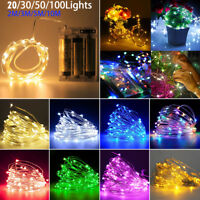 20-100 LED String Battery Operated Copper String Wire Fairy Lights Xmas Party
