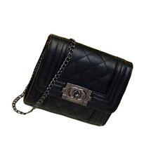 Chic Black Leather-like Shoulder Bag Clutch Purse Handbag with a Chain Strap
