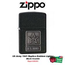 Zippo US Army 1941 Replica Emblem Lighter, Black Crackle #28583