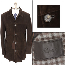New BRIONI Brown Leather Cashmere Lining 3/4 5Btn Coat Jacket 50 M L NWT $7250!