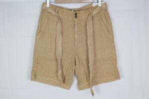 American Eagle Women's High Rise Linen Taper Bermuda Shorts Size 8 Beige