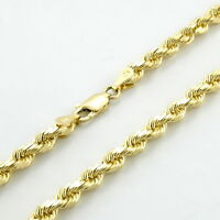 """REAL 10k Yellow Gold Italian 3mm Mens Womens Diamond Cut Rope Chain Necklace 22"""""""