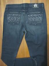 "ROCK & REPUBLIC Womens Mid Rise JEANS Sz 33"" BLACK ""Berlin"" Stretch Denim Pants"
