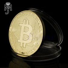Bitcoin Münze in Gold überzogene BTC Krypto Coin als Geschenk Sammler IOTA ETH