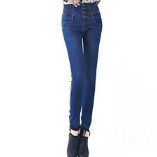 Women High Waisted Stretch Super SKINNY Fit Denim Jeans Jeggings Pants 8-16 Deep Blue 8