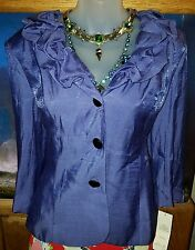 NWT Adrianna Papell Purple Shimmery Blazer with Gathered Collar Size 14