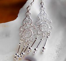 Ohrhänger Silber 5,5 cm Silber Verspielt Filigran Chin. Symbol Zeichen Glück