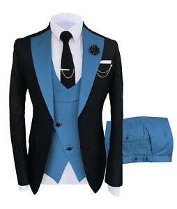 Classic Mens 3Piece Suits Notch Lapel Groomsmen Tuxedos Wedding Blazer+Vest+Pant
