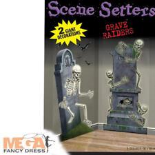 Cementerio Raiders Escena Setters Halloween Esqueleto Decoración Fiesta lápida