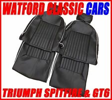 Triumph Spitfire & GT6 Seat Covers 1 Pair Black/White Vinyl with Headrest Covers