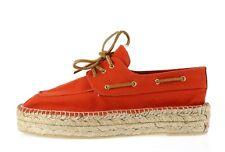 Womens TORY BURCH 204564 coral canvas lace up platform espadrilles shoes sz. 10