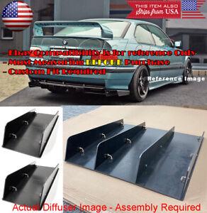 3 Pcs Black Rear Bumper Diffuser Splitter Shark Fins Canards For Subaru Mazda