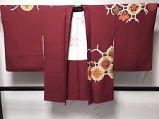 Antique Kimono Haori Japanese Geisha - Dark Red Gold Yuzen - No Uchikake (H1)