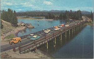 Yellowstone National Park Fishing Bridge Cars Vintage c1955 Postcard Unposted 3
