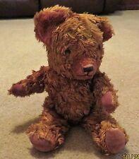 "Teddy Bear Uk Brown Cotton Blend Plush 12"" Jointed Velvet Pads c1950s Vintage"