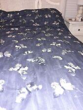 IKEA King Duvet & 2 Shams BERGKAREL Pattern Dark Blue Butterfly Buttons MINT