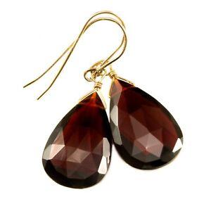 Garnet Earrings Large Simulated Deep Red Faceted Teardrops Long Dangles Drops