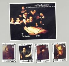 Gambia #1474, #1476, #1479, #1481, #1482 Rembrandt Art 4v & 1v S/S Imperf Proofs