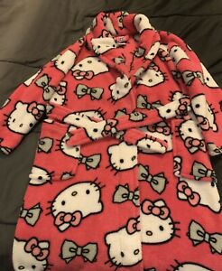 Girl Pink & White Hello Kitty Cotton Bath Robe Size Small 6
