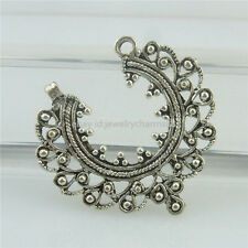 18465 14PCS Vintage Tibetan Silver Alloy Moon Filigree Hollow Pendant Connector