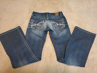 BKE Stella Boot stretch womens jeans size 25x32 bootcut medium wash studs bling