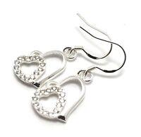 Silver Plated Rhinestone Heart Earrings Sterling Dangle Women's Jewelry Gift